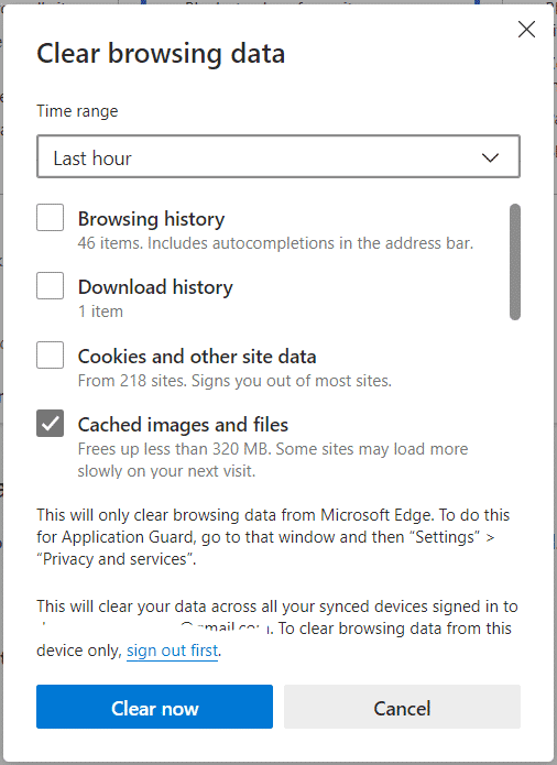 Clear Browsing Data on Edge