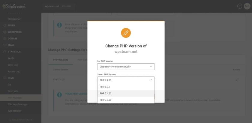 SiteGround PHP Version Switcher