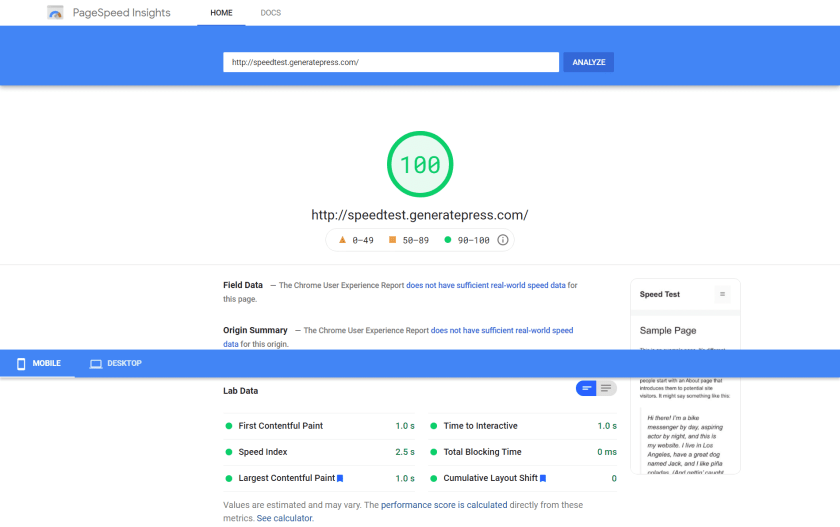 GeneratePress Testing Site Google Page Insights