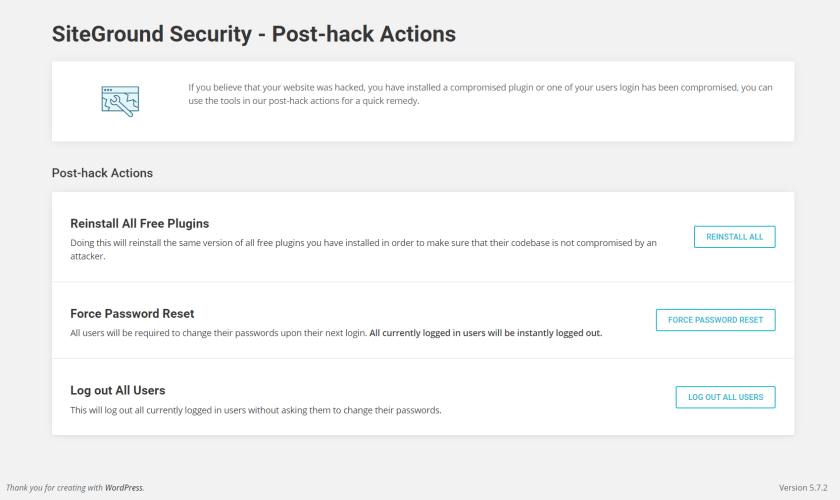 Post-hack Actions