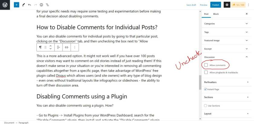 Disable Individual Post Comments