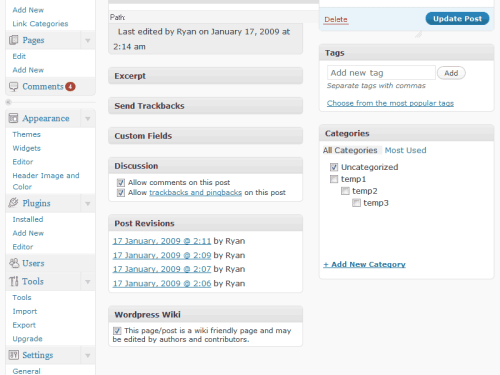 WordPress Wiki admin panel view