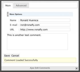 Edit Comments Screen