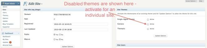 Edit Site Theme