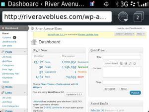 WordPress Dashboard Via BlackBerry Web Browser