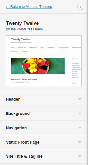 2012 Theme Customiser