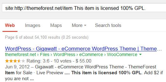 ThemeForest GPL Search String