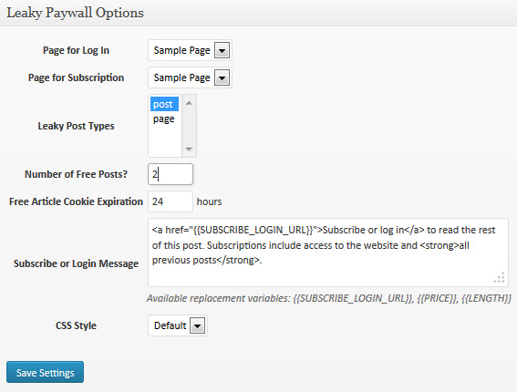 Leaky Pay Wall Options
