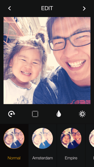 Photo filters on the Pressgram app
