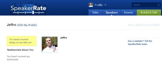 SpeakerRate Profile Page