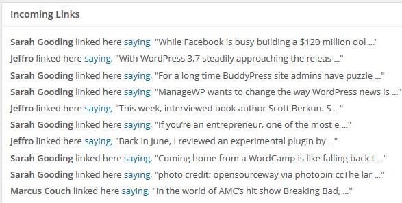 Incoming Links In WordPress 3.6.1