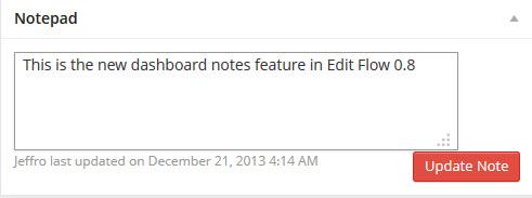 Edit Flow Dashboard Notes