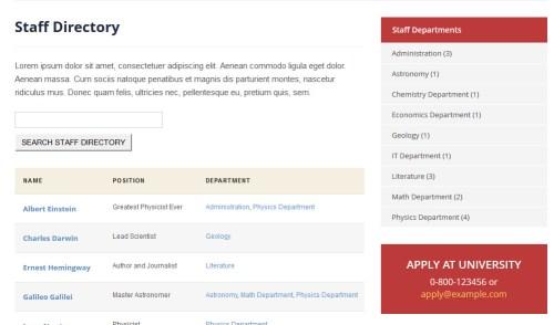 Academia Themes Staff Directory