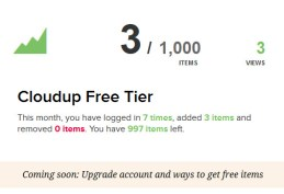 Cloudup Free Users Limited To 1,000 Items