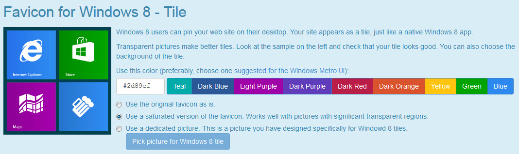Windows 8 Favicon Tile