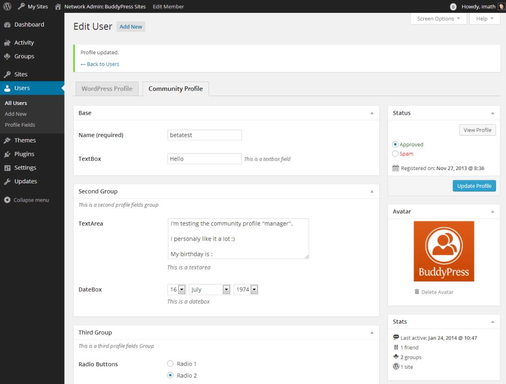 New Community Profile Tab
