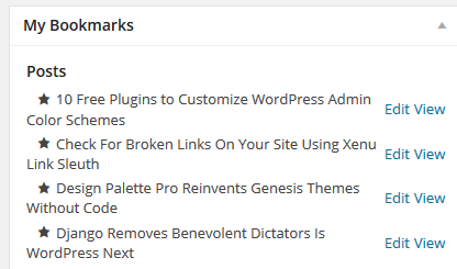 Admin Bookmarks Dashboard Widget