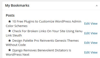 Admin Bookmarks Dashboard Widget