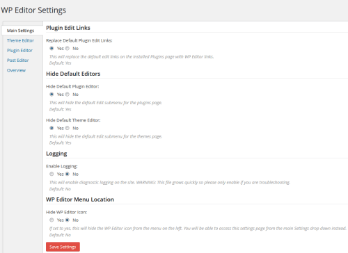 WP Post Editor Main Settings