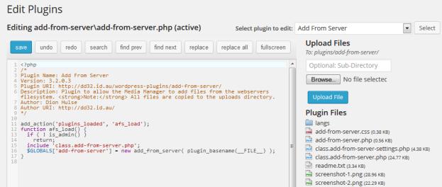 WP Editor Version Of The Plugin Editor