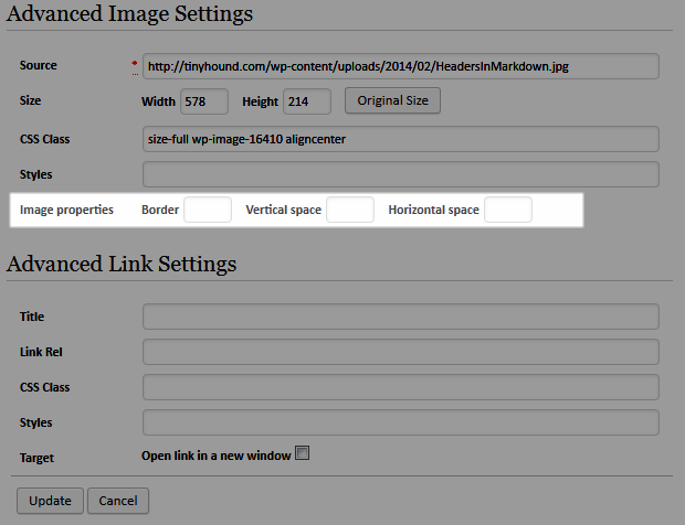 Image Properties In WordPress 3.8
