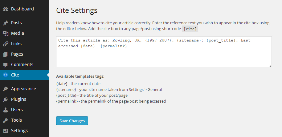 Cite: A WordPress Plugin to Help Readers Correctly Attribute