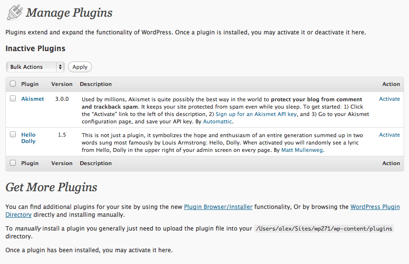 WordPress 2.7 Plugins Page