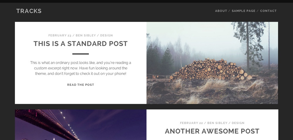 Tracks: A Free Bold WordPress Theme for Personal Blogs