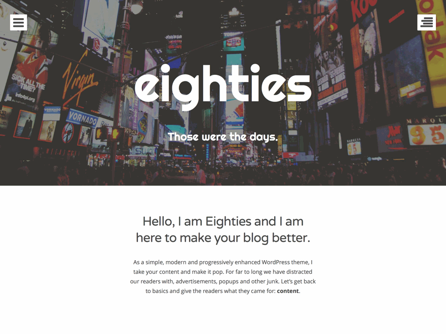 Eighties: A Bold Free WordPress Theme Focused on Content – WordPress ...