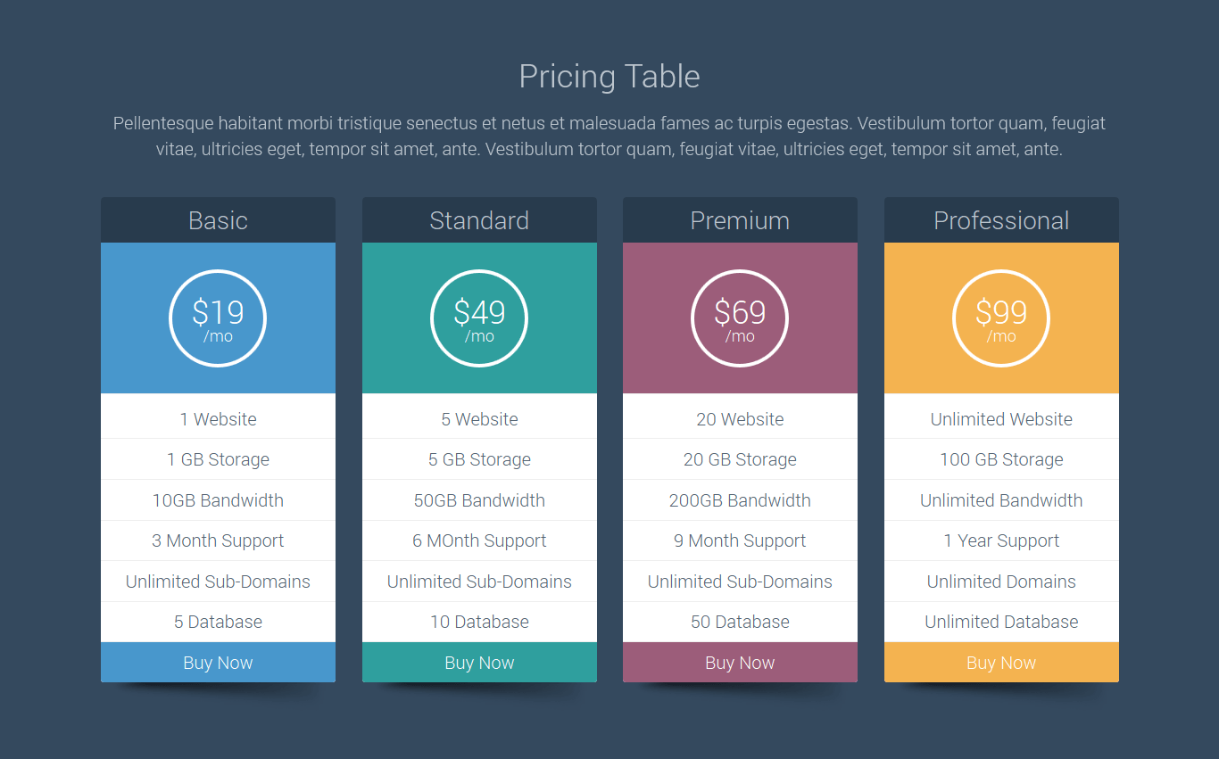 The Pricing Table Is Responsive And Includes Smooth Hover Effects When  Mousing Over The Columns. A Live Demo Is Available At JW Themes And Plugins.