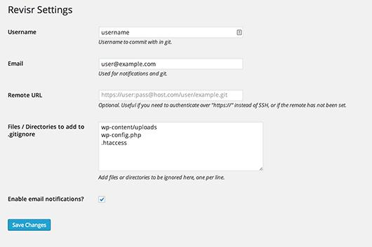 revisr-git-settings-options