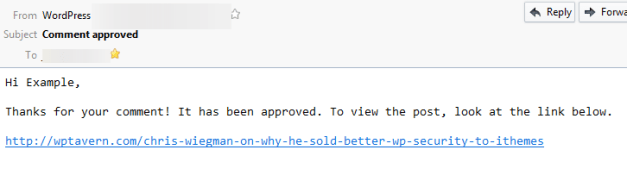Default Approved Message Email Content