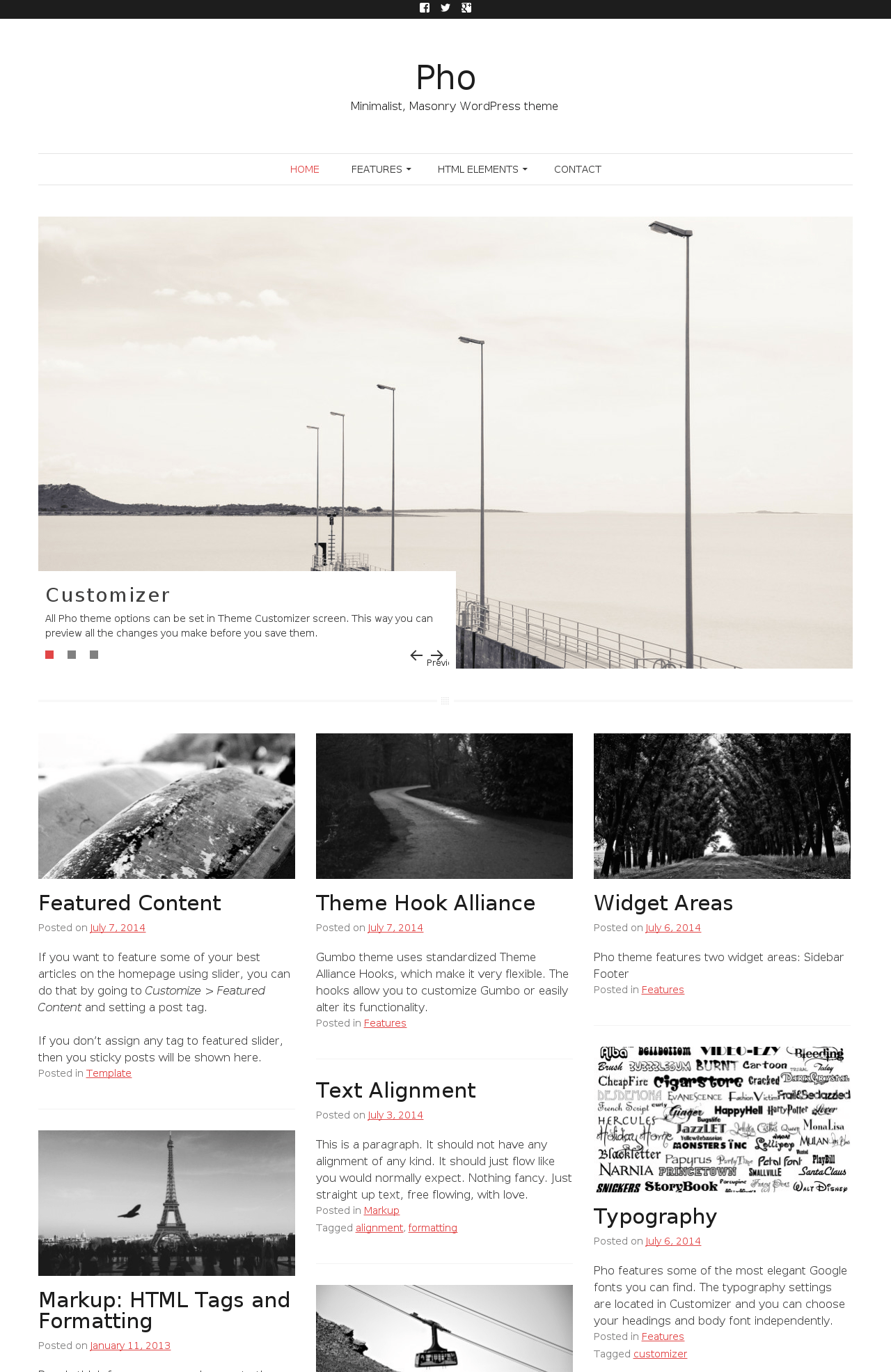Pho a free minimalist masonry wordpress theme for Minimalist homepage