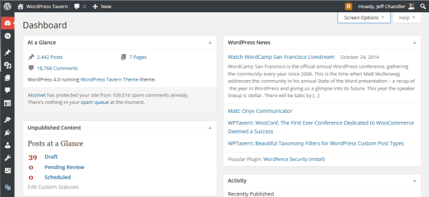The WordPress 4.0 Dashboard