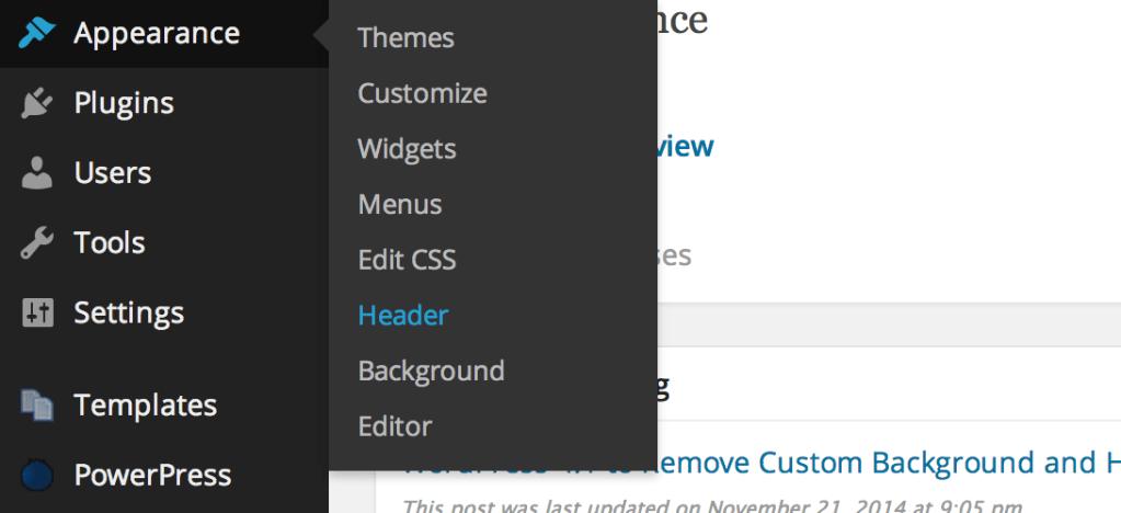 WordPress 4.1 to Remove Custom Background and Header Admin Screens