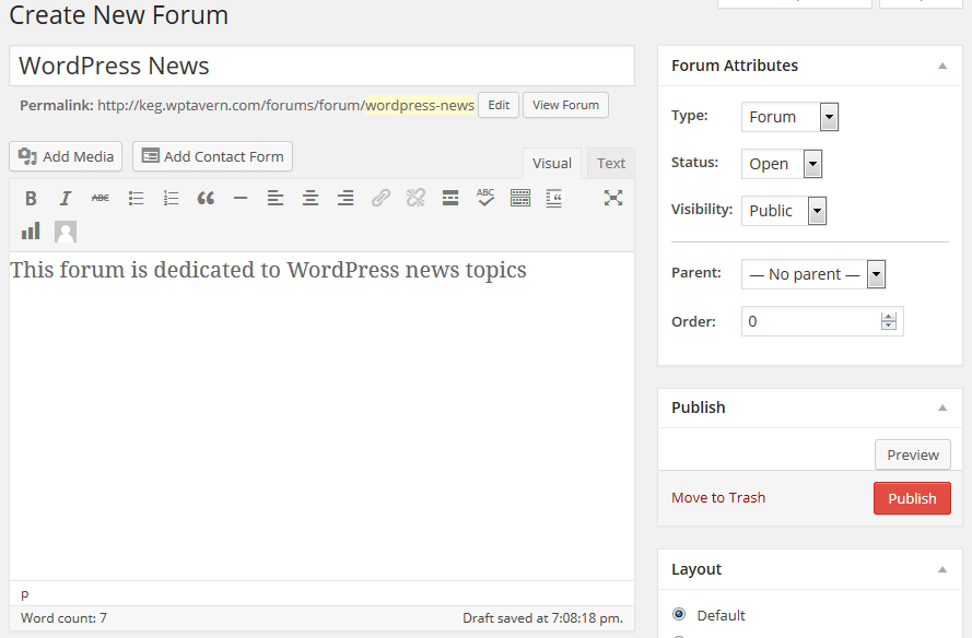 Creating a Forum in bbPress