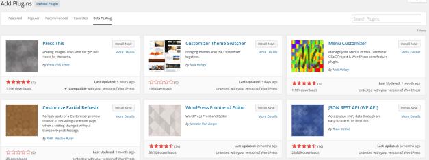 WordPress 4.2 Feature Plugin Beta Testing Tab