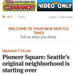 What the Seattletimes front page looks like on an iPhone 5