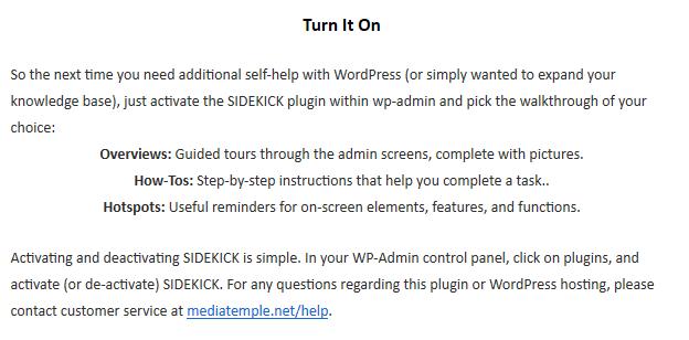 How to turn on SIDEKICK