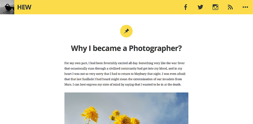 Hew: A Free WordPress Blogging Theme Inspired by Ryu