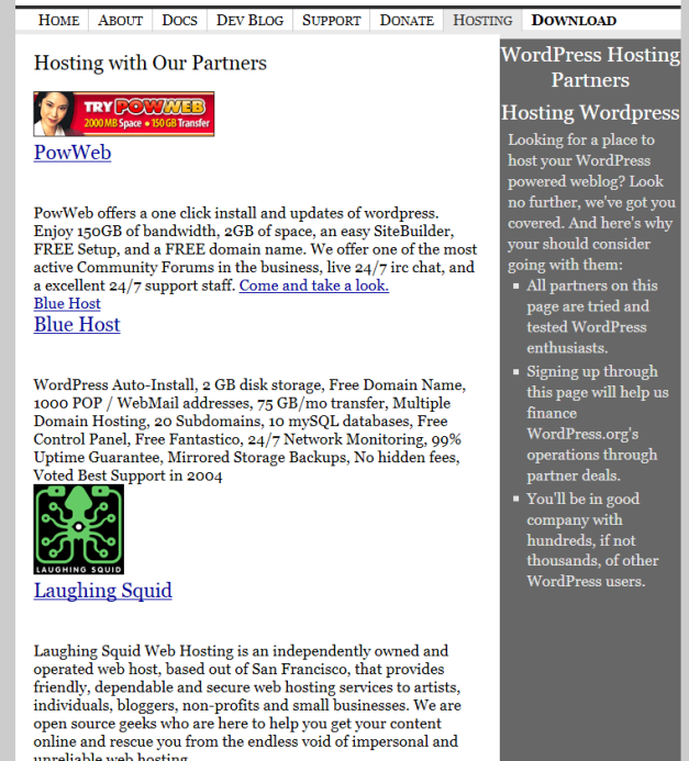 WordPress.org Recommended Host Page in 2005