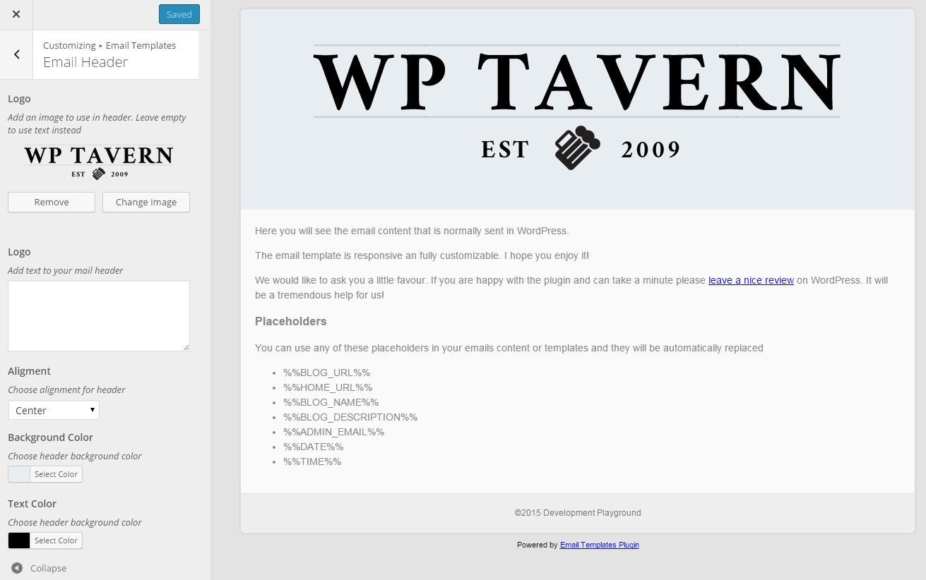 Edit Wordpress Email Templates In The Customizer Wordpress Tavern