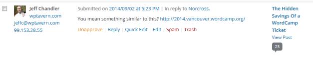 WordPress 4.3 Comment Content Area