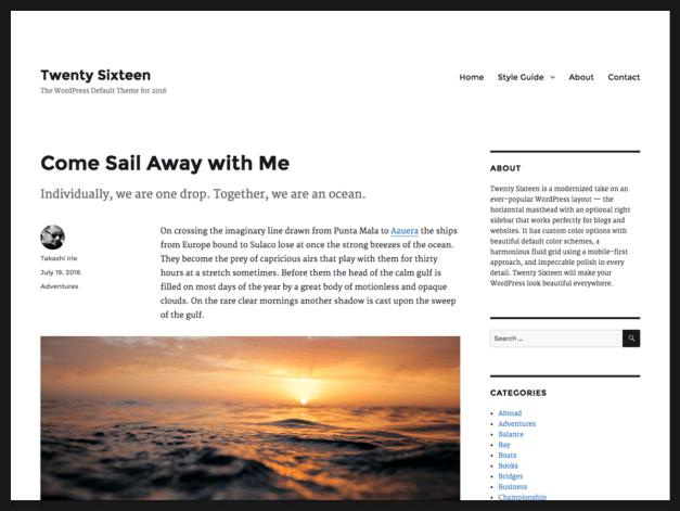 Twenty Sixteen Homepage