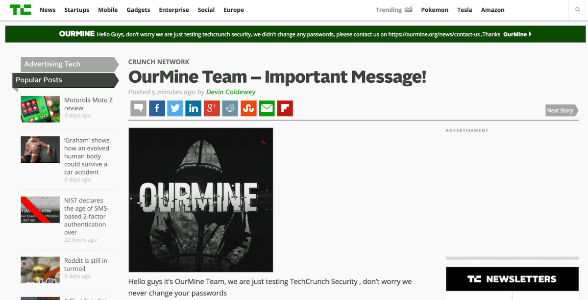 TechCrunch Hacked by OurMine, Attackers Target Weak Passwords