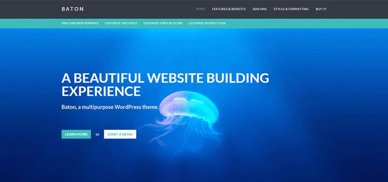 Baton: A Free WordPress Business Theme with a Homepage Layout