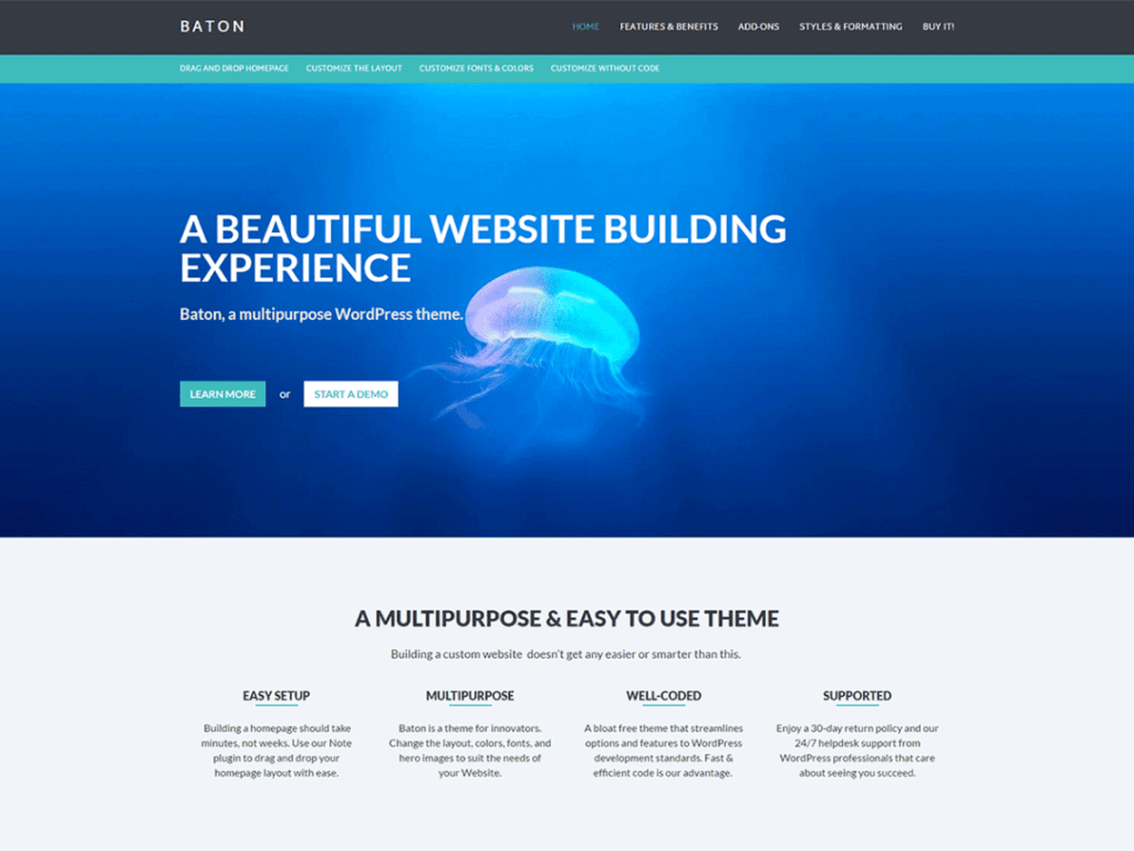Baton a free wordpress business theme with a homepage for Home builder website