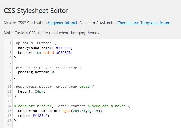 Jetpack's Edit CSS Module