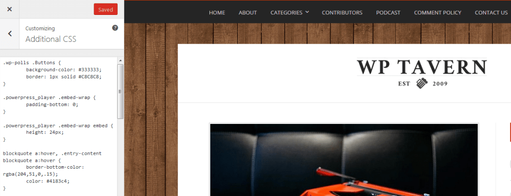 CSS Editor in The WordPress 4.7 Customizer