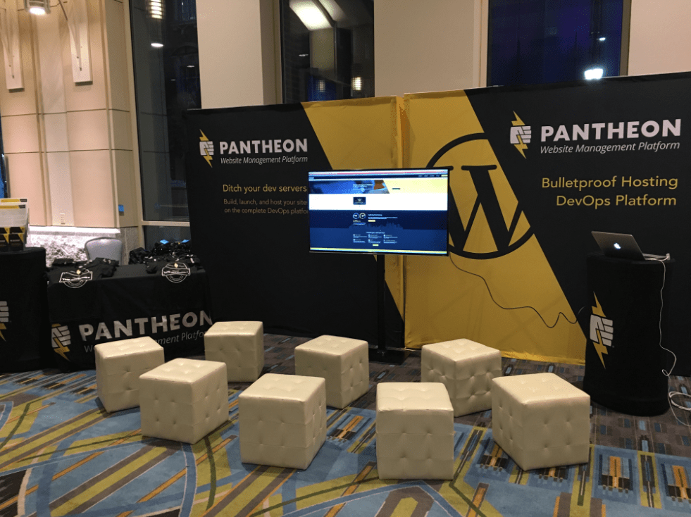 Pantheon's Booth at WCUS Before Being Taken Down